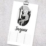 "Illust(r)ierter Geburtstagskalender ""Jaguar - Zebruar - Märzschweinchen - Apriltis"""