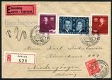 """7.3.1943 FDC Liechtenstein """"zur Vermählung des Fürsten"""" eingeschrieben und Express nach Niedergösgen nachtaxiert"""
