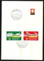 8.10.1953 FDC Sondermarken Alpenpost auf PTT Faltblättchen in allen 3 Sprachen