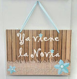 Cartel ya viene la novia flores azules (Modelo2)
