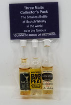 Three Malts Collectors Pack - Micro Whisky Miniatures (Guinness World Records)