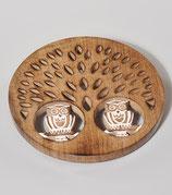 Topfuntersetzer 2 Eulen, Mangoholz dm 20 cm, h 2 cm, Indien
