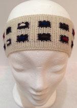 Stirnband in Weiß mit bunten Rechtecken aus 100 % Alpakawolle