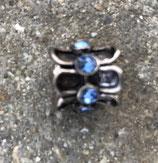 """Tibetsilber Bead """"Stäbe blau"""""""