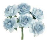 Röschen mit Draht 6 Blüten Blau