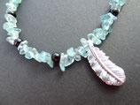 Onyx-Apatit Halskette mit Silberfeder und -Verschluss