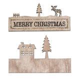 """Holzdeko mit Schrift """"Merry Christmas"""""""