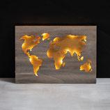 Holz-Weltkarte 2 Platten mittelbraun
