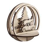 Holz-Steckteil Auto mit Baum 9.5cm ø