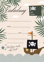 Geburtstagseinladung kleiner Pirat | 6 x DIN A6 Karten + 6 rot/weiß karierte Umschläge