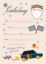 Geburtstagseinladung Auto| 6 x DIN A6 Karten + 6 rot/weiß karierte Umschläge
