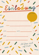 Geburtstagseinladung Party | 6 x DIN A6 Karten + 6 rot/weiß karierte Umschläge