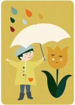 Freunde Regenschirm Postkarte
