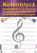 Notenblock - Standardblock mit 12 Systemen  (Tunesday Bestellnummer: TB12)