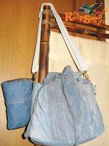 ◆リメイクデニム巾着型バッグ