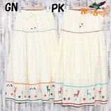 ◆インド綿刺繍ロングスカートGN