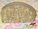 ◆花模様ビーズ×スパンコールポーチGY
