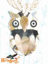 ◆シェル×ビーズネックレス フクロウ