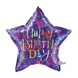 Ballon Alu Qualatex JUMBO Etoile Birthday Typography Violet
