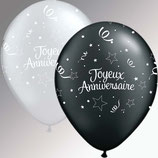 "6 Ballons Qualatex ""Joyeux Anniversaire Shining Star"""