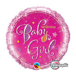 Ballon Alu Qualatex Welcome Baby Holographic Rose