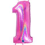 Ballon Chiffre Holographic Fuchsia - Taille:+- 100cm