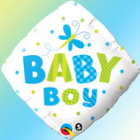 Ballon Alu Qualatex Baby Little Dots Bleu