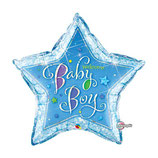 Ballon Alu Qualatex Welcome Baby Etoile Holographique Bleu