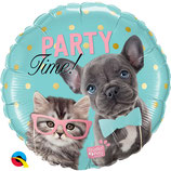 "Ballon Alu Qualatex ""Party Time Chien-Chat"""