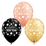 "6 Ballons Qualatex ""Happy New Year Dots"""