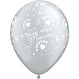 """6 Ballons Qualatex """"Vive Les Mariés - Coeurs"""" Argent"""