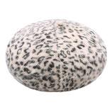 Beige baret met leopard print