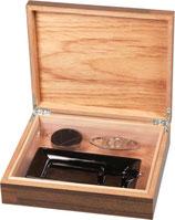 Zigarren-Humidor-Set 4 - braun Holzstruktur für ca. 25 Zigarren