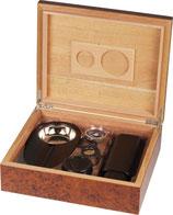 Zigarren-Humidor-Set 2 - Wurzelholz für ca. 25 Zigarren