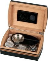 Zigarren-Humidor-Set 5 - schwarz/braun Lederoptik für ca. 25 Zigarren