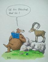 """Steffen Butz, Originalgraphik """"Steinbock"""", Größe des Blattes: 30x40 cm"""