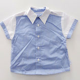 Chemise à carreaux blanche et bleu Tutto Piccolo