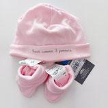 Ensemble naissance bonnet + chausson 3 Pommes