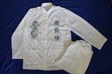 Tai Chi Anzug mit Stickerei in weiss