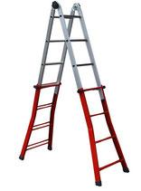 Escalera telescópica de tijera extensible y apoyo hierro-aluminio modelo TELESHA