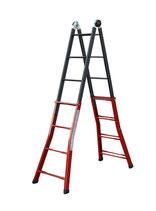 Escalera telescópica de tijera extensible y apoyo hierro modelo TELESH