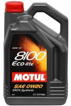 MOTUL 8100, ECO-LITE Aceite de motor  0W-20,  Aceite sintetico (1 lata de 5 litros)