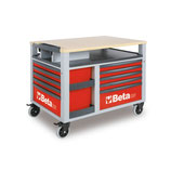 Carro de herramientas Beta C28-R-CARRO SUPERTANK 10 CAJONES Rojo