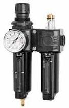 """Conjunto regulador, filtro y lubricador SAMOA 1/2"""". Con manómetro 0-12 bar. (Modelo ATC-2C)"""