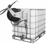 Conjunto de bomba neumática SAMOA PM2 3:1 con enrollador, contador y bastidor fijación lateral a contenedores normalizados (IBC) 454 699