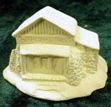 Kleines Haus mit Tannen
