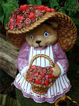 Teddy Frau mit Hut & Rosen