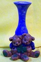 Teddyvase mit Kleeblatt