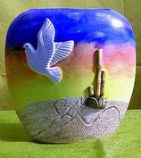 Vase flach mit Taube