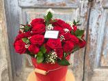 Cubo 35 rosas rojas XL